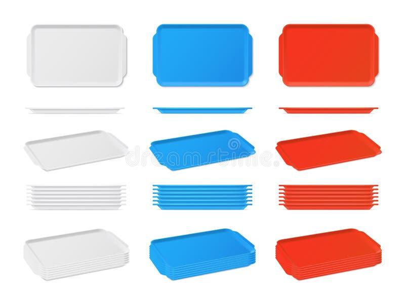 Реалистический пластичный пустой поднос еды с ручками Прямоугольные подносы кухни иллюстрация штока