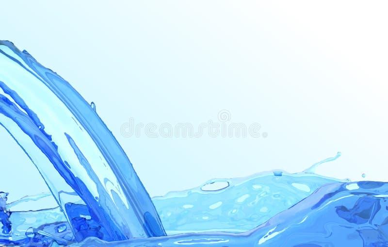Реалистический поток воды Чистая предпосылка поверхности воды волны Голубая жидкостная подача и выплеск иллюстрация вектора