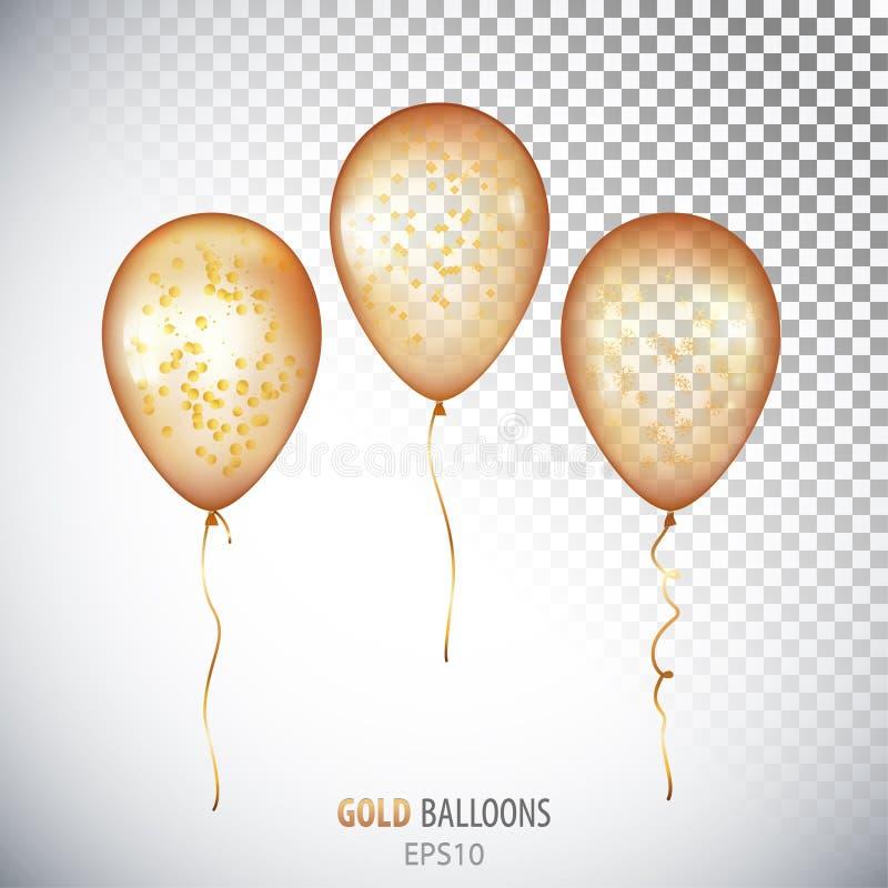 Реалистический прозрачный гелий золота 3D раздувает с isol confetti иллюстрация штока