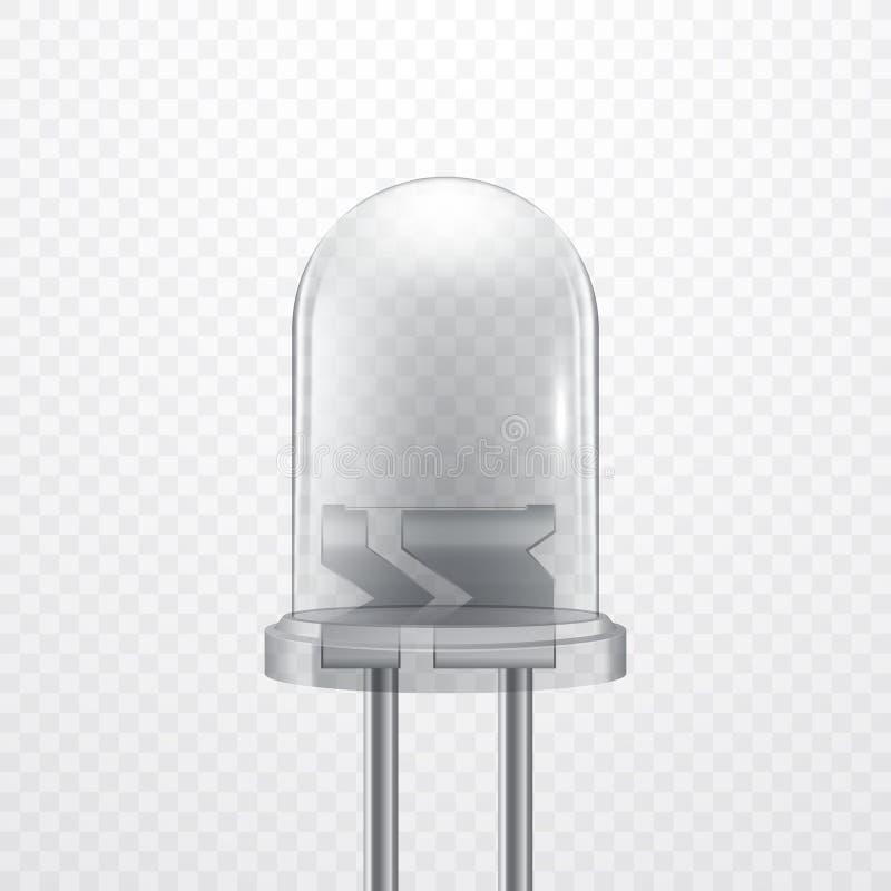 Реалистический прозрачный светоизлучающий диод, иллюстрация вектора СИД иллюстрация вектора