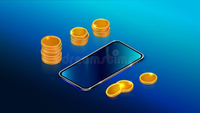 Реалистический равновеликий черный смартфон с пустым экраном касания и стог золотых монет изолированный на голубой предпосылке иллюстрация вектора