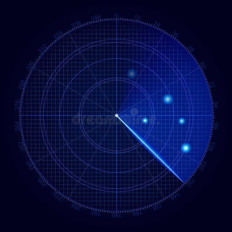 Реалистический радиолокатор вектора в искать Воздушный поиск Иллюстрация отметки цели воинской поисковой системы Navig бесплатная иллюстрация