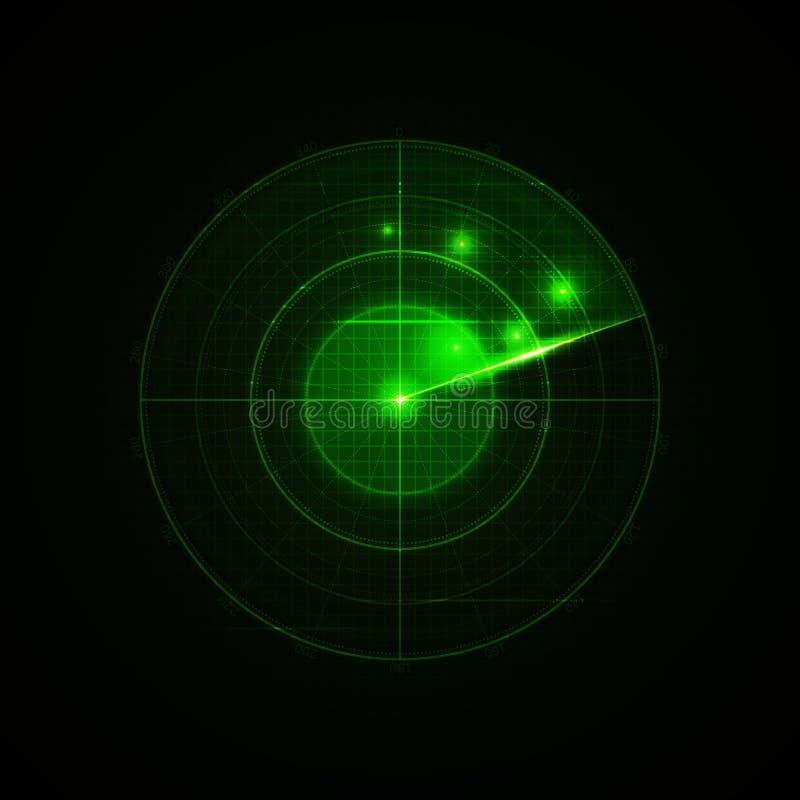 Реалистический радиолокатор вектора в искать бесплатная иллюстрация