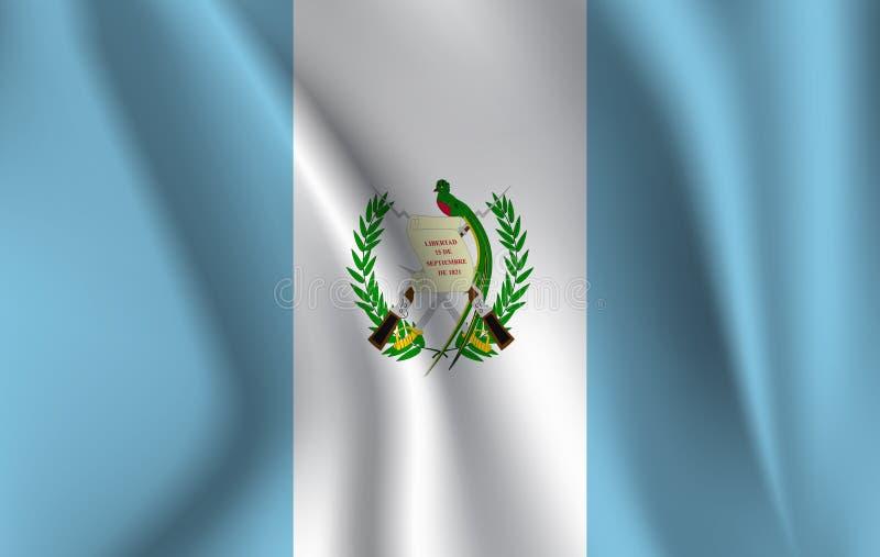 Реалистический развевая флаг развевая флага Гватемалы, высокой флаг разрешения ткани текстурированный пропуская, вектор EPS10 иллюстрация штока