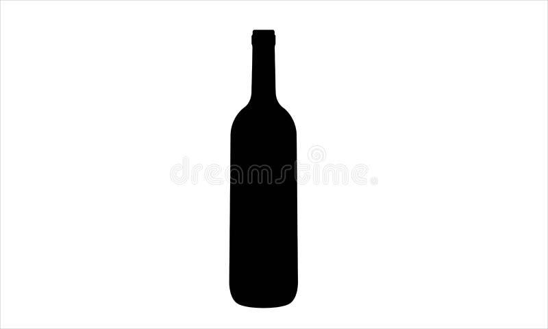Реалистический силуэт бутылки вина без пробочки стоковые изображения rf