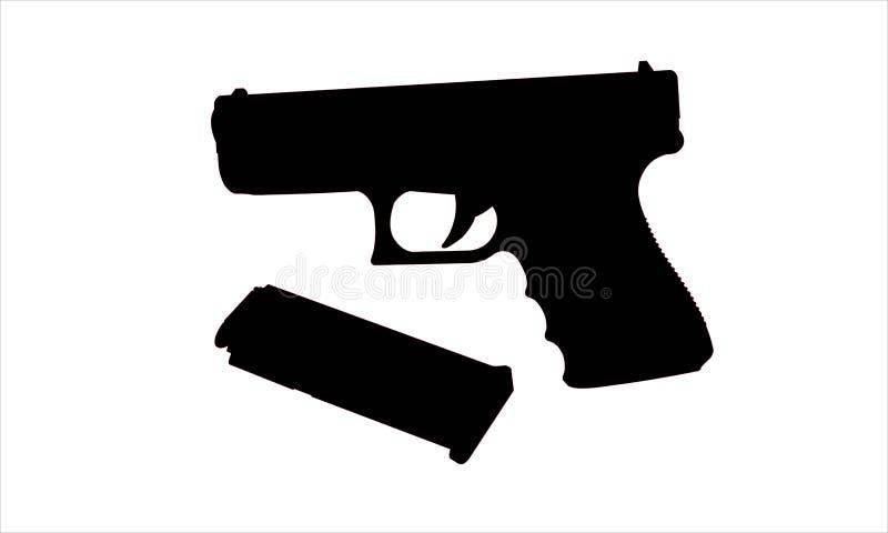 Реалистический силуэт вектора оружия при стог изолированный на белизне стоковое изображение rf