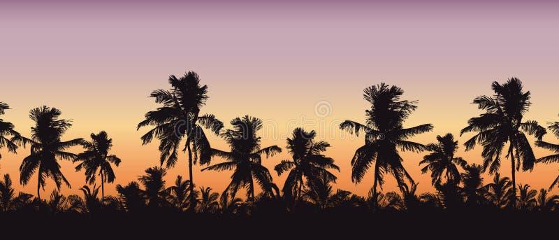 Реалистический силуэт верхних частей дерева, пальм в тропическом ландшафте, с небом утра апельсин-розовым и с космосом для текста иллюстрация штока