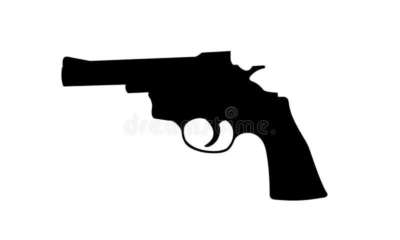 Реалистический силуэт револьвера изолированный на белом backgr стоковые фотографии rf