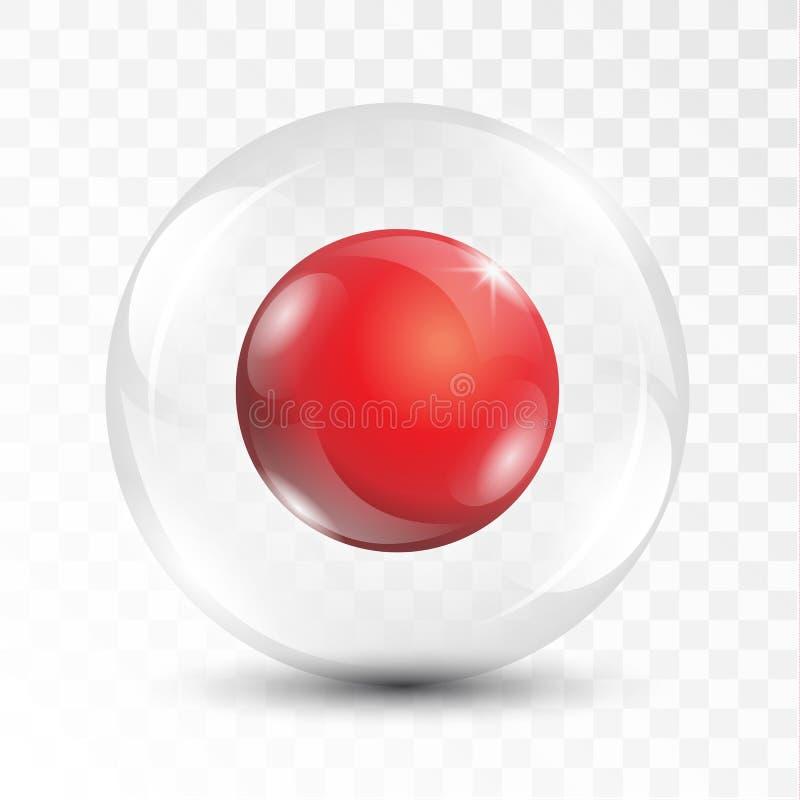 Реалистический сияющий красный шарик 3D внутри прозрачного стеклянного vect сферы иллюстрация штока