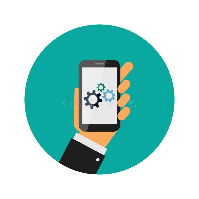 Реалистический современный мобильный телефон на зеленой предпосылке Механизм шестерни Cogwheel телефон удерживания руки франтовск иллюстрация вектора