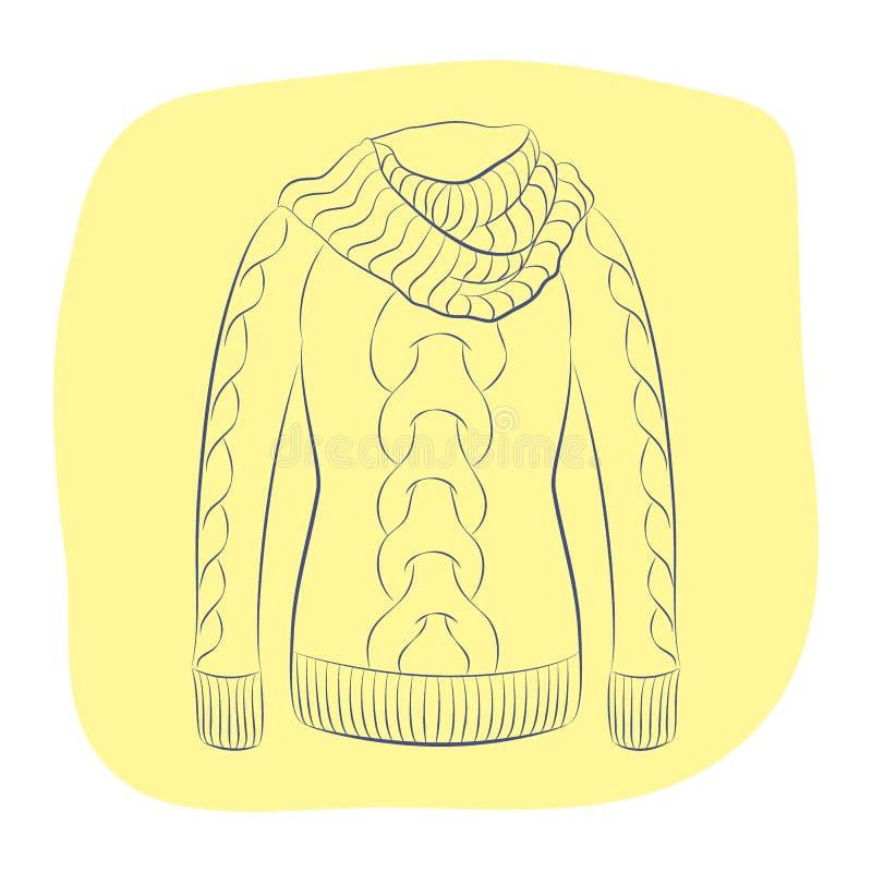 Реалистический теплый шлямбур или связанный свитер с большим воротником иллюстрация штока