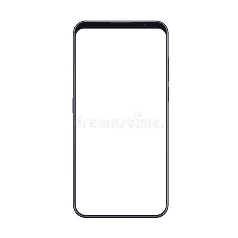 Реалистический ультрамодный модель-макет smartphone при тонкие изолированные рамки и пустой белый экран Может быть польза для люб иллюстрация вектора