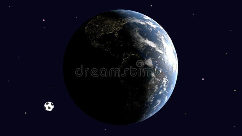 Реалистический футбольный мяч и видимая Америка на земле против звёздного неба, 3d переводе, элементы изображения поставленные NA иллюстрация штока