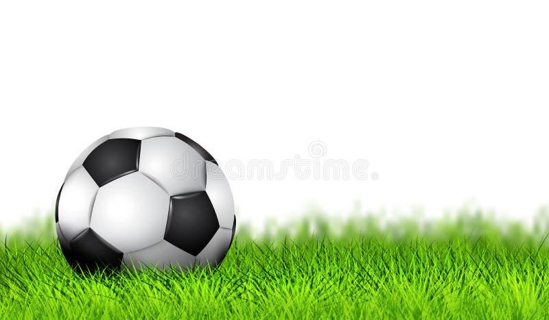 Реалистический футбольный мяч как футбол Simbol на игровой площадке Дизайн футбольного мяча на предпосылке зеленой травы Знамя кр иллюстрация штока