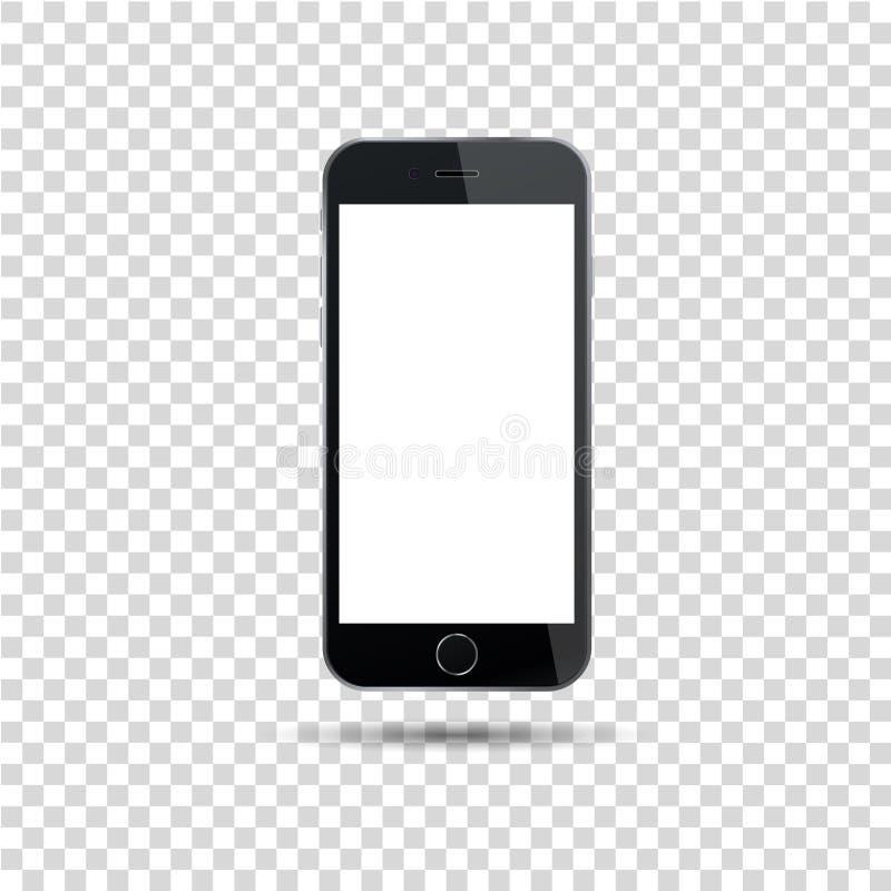 Реалистический черный smartphone в стиле iphone с пустым экраном на белой предпосылке также вектор иллюстрации притяжки corel иллюстрация штока