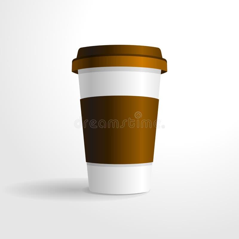 Реалистический шаблон вектора кофейной чашки, для вашей насмешки дизайна вверх иллюстрация вектора