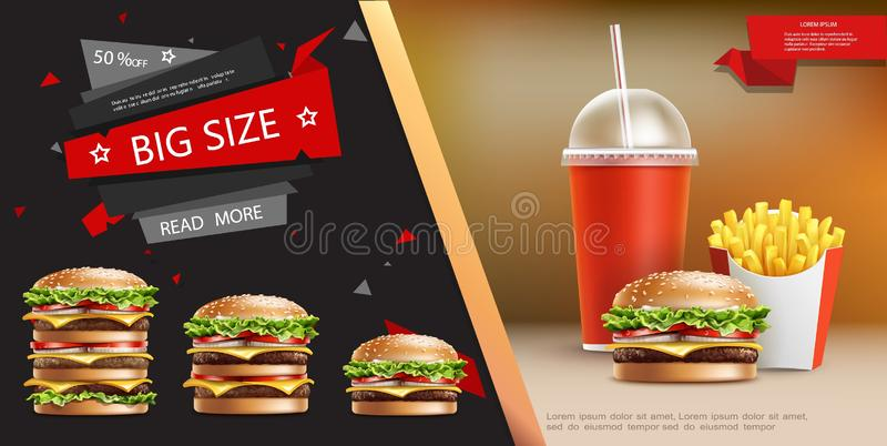 Реалистический шаблон рекламы фаст-фуда бесплатная иллюстрация
