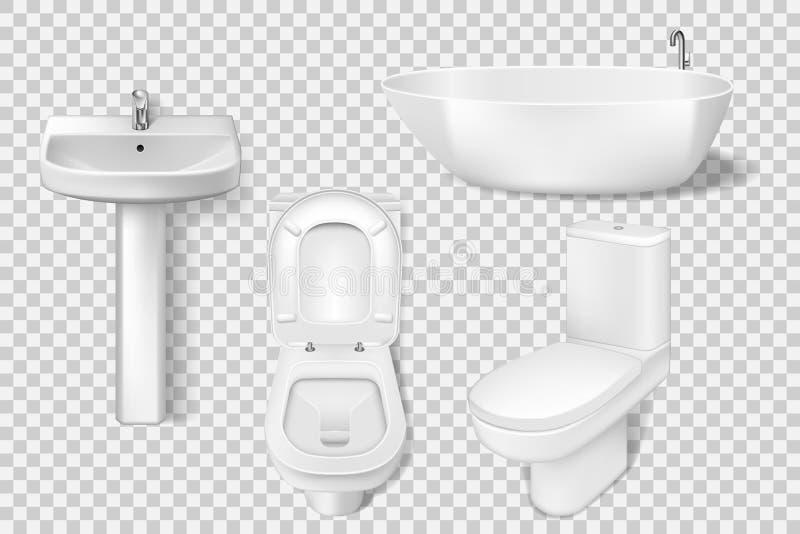Реалистический шаблон собрания bathroom Белый чистый туалет, шар, раковина, таз санузла Модель-макет туалета и утонуть для иллюстрация штока