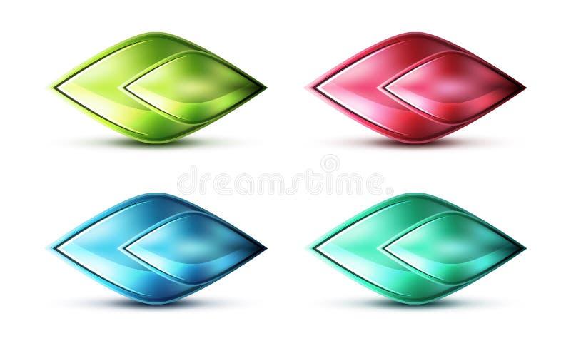 Реалистический штейновый стеклянный абстрактный значок для сообщения иллюстрация штока