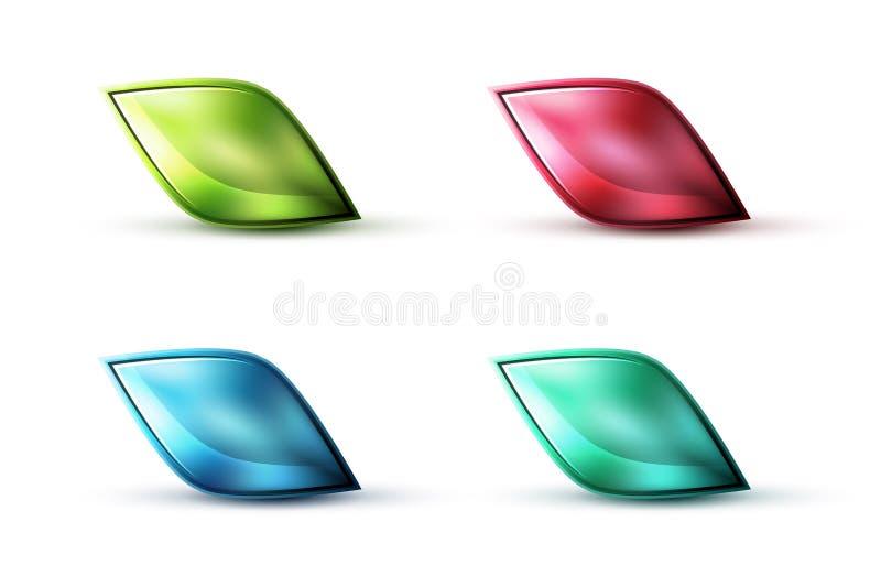 Реалистический штейновый стеклянный абстрактный значок для сообщения иллюстрация вектора