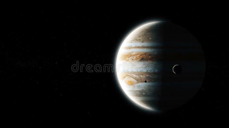 Реалистический Юпитер от глубокого космоса иллюстрация штока