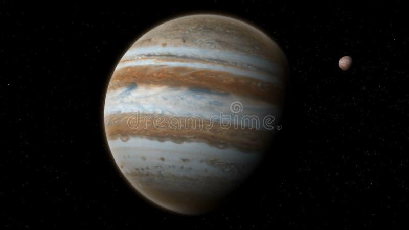 Реалистический Юпитер с Европой от глубокого космоса стоковое изображение rf