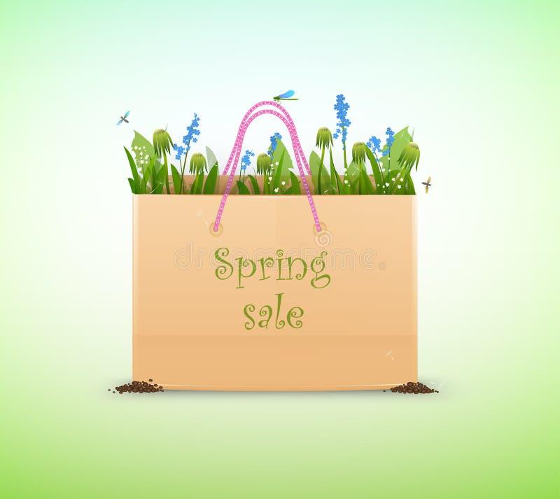 Реалистический paperbag вполне травы и цветков и ` продажи весны ` надписи на мягкой зеленой предпосылке иллюстрация вектора