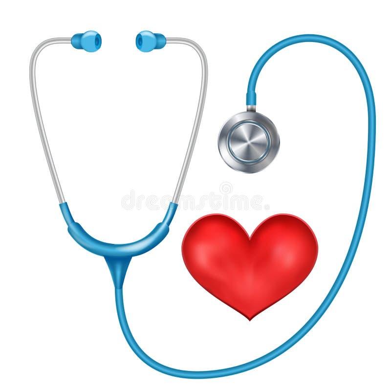 Реалистическим вектор изолированный стетоскопом Медицинское оборудование Красное сердце иллюстрация иллюстрация штока