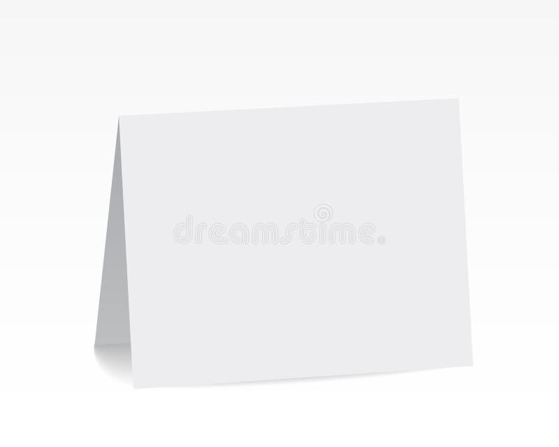 Реалистическим стоящим белым карточка сложенная пробелом бумажная иллюстрация вектора