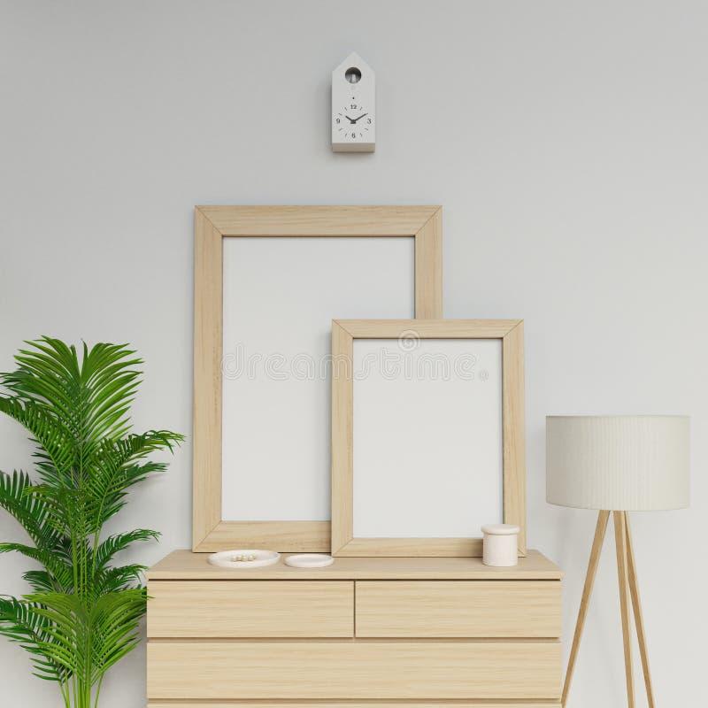 Реалистическое домашнее внутреннее 3d представить шаблона модель-макета 2 пустого плакатов a1 и a2 с вертикальной деревянной рамк иллюстрация штока