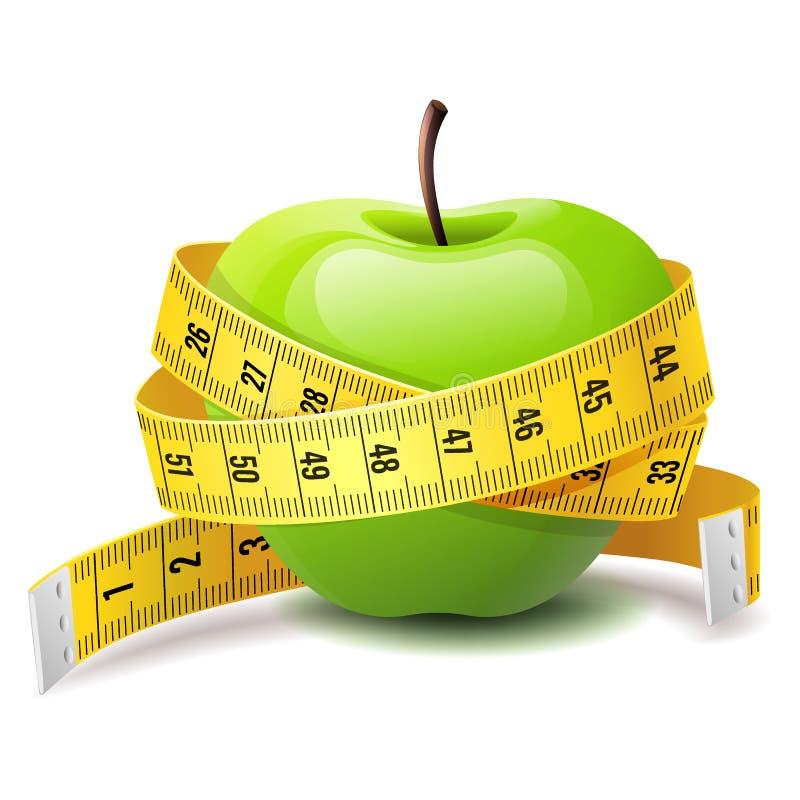 Реалистическое зеленое яблоко с лентой измерения, значком диеты фитнеса иллюстрация вектора