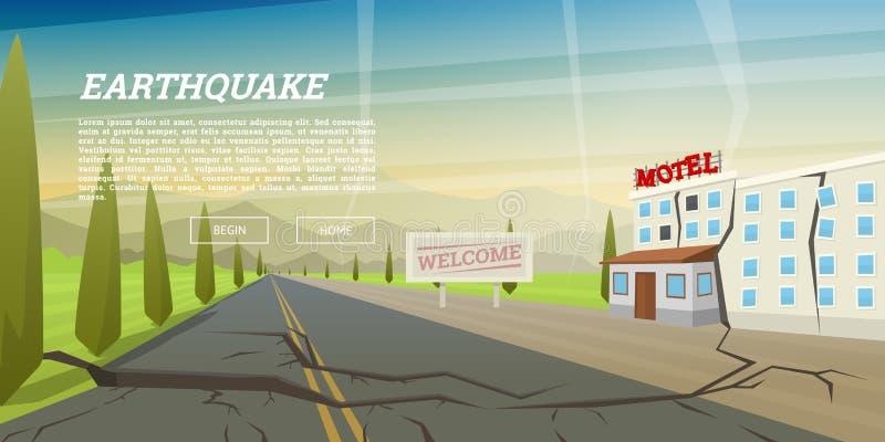 Реалистическое землетрясение с земным crevice и загубленным домом с отказом Стихийное бедствие или катаклизм, катастрофа и иллюстрация вектора
