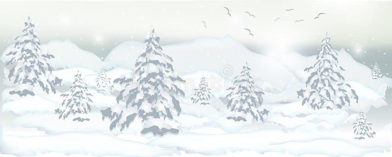 Реалистическое знамя деревьев зимы, сосен и белого снега для desig иллюстрация вектора
