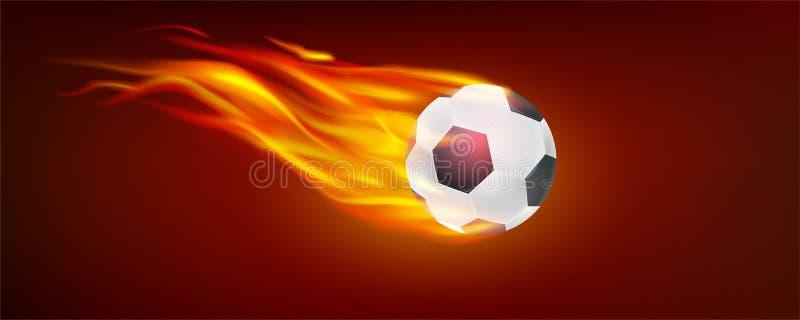 Реалистическое летание горя классический шарик футбола Значок футбольного мяча в огне для горячего футбольного матча вектор 3d иллюстрация вектора