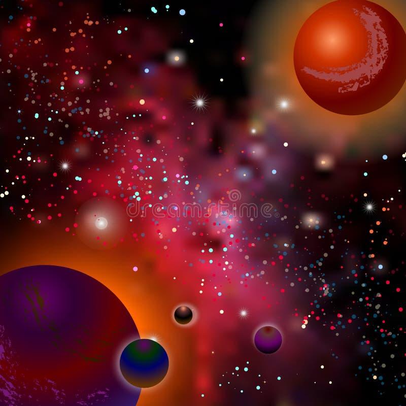 Реалистическое открытое пространство Млечный путь, звезды и планеты Ландшафт космоса фантазии шаржа Предпосылка планеты чужеземца иллюстрация вектора