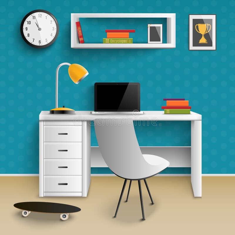 Реалистическое рабочего места подростка внутреннее иллюстрация вектора