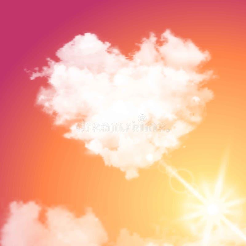 Реалистическое сердце облака вектора на красивом небе захода солнца с солнцем Пирофакел, солнечность бесплатная иллюстрация