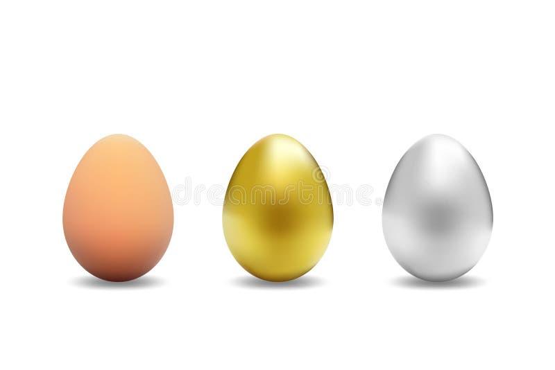 Реалистическое яичко животного или цыпленка, серебр и золото изолированные с тенями на белой предпосылке бесплатная иллюстрация