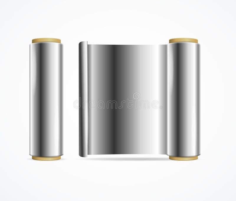 Реалистическое 3d детализировало сияющий крен серебряной фольги вектор бесплатная иллюстрация