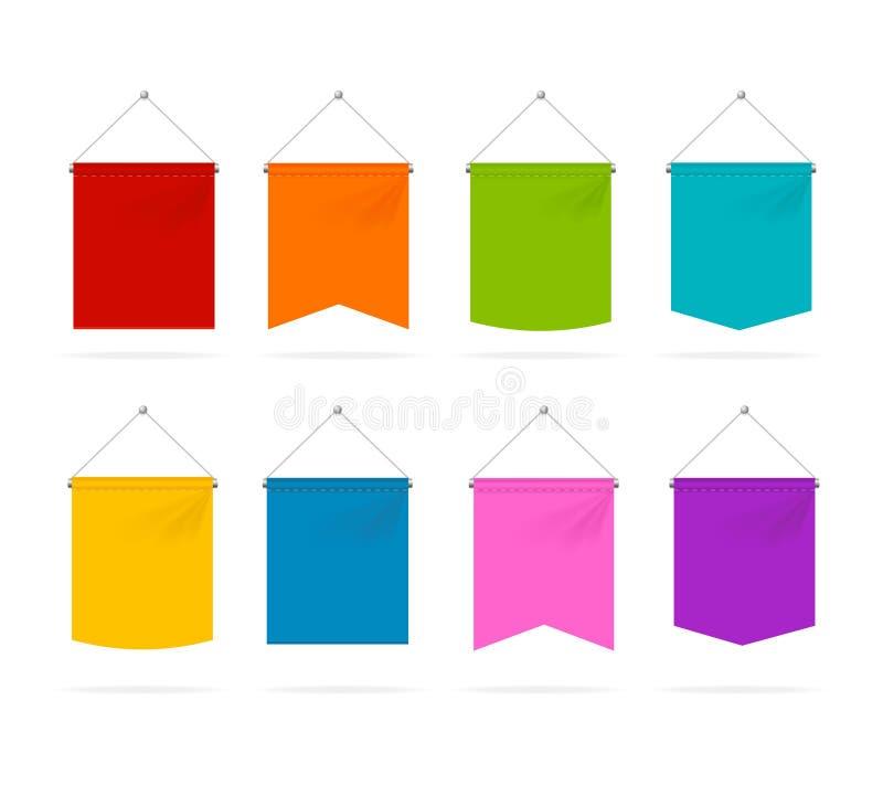 Реалистическое 3d детализировало установленные значки шаблона вымпела цвета вектор бесплатная иллюстрация