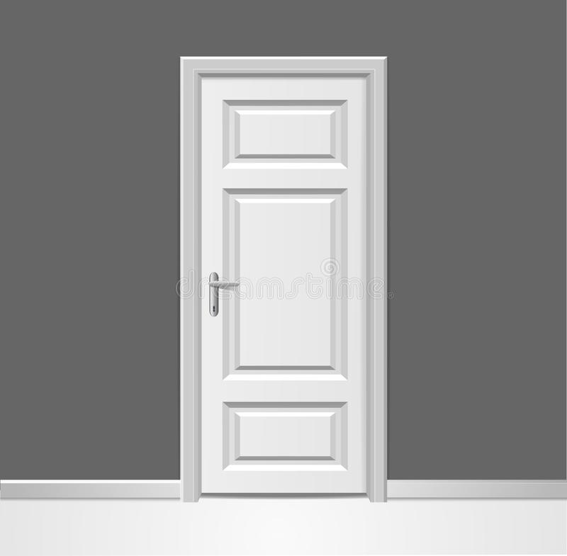 Реалистическое 3d закрыло белую деревянную дверь с рамкой для того чтобы огородить внутреннюю концепцию вектор иллюстрация вектора