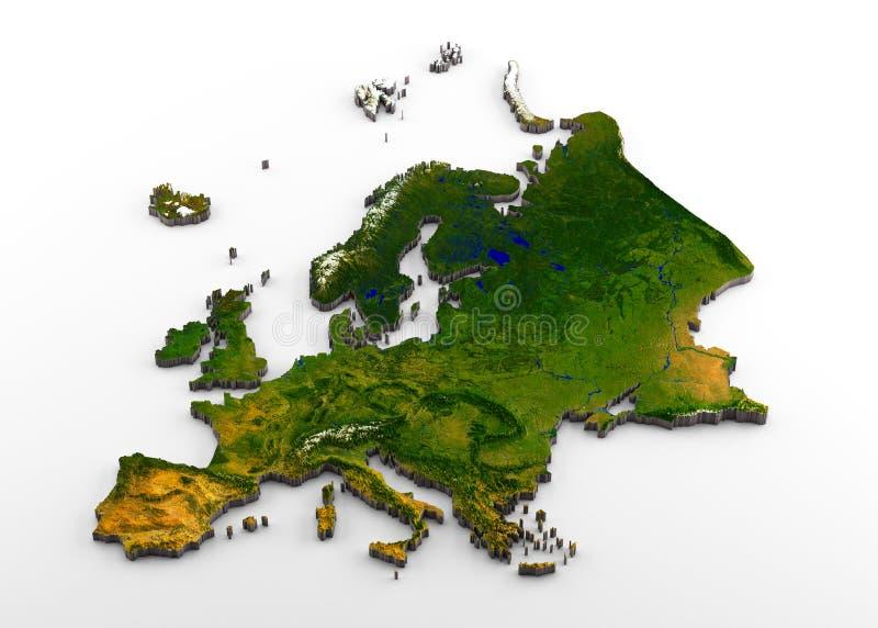 Реалистическое 3D прессовало карта европейского континента включительно Западной Европы, Eastearn Европы, и западной части России иллюстрация вектора
