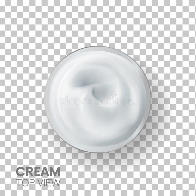 Реалистичное представление Cream TOP специальные 3d-эффекты косметический белый крем для кожи На прозрачном фоне текстура иллюстрация вектора