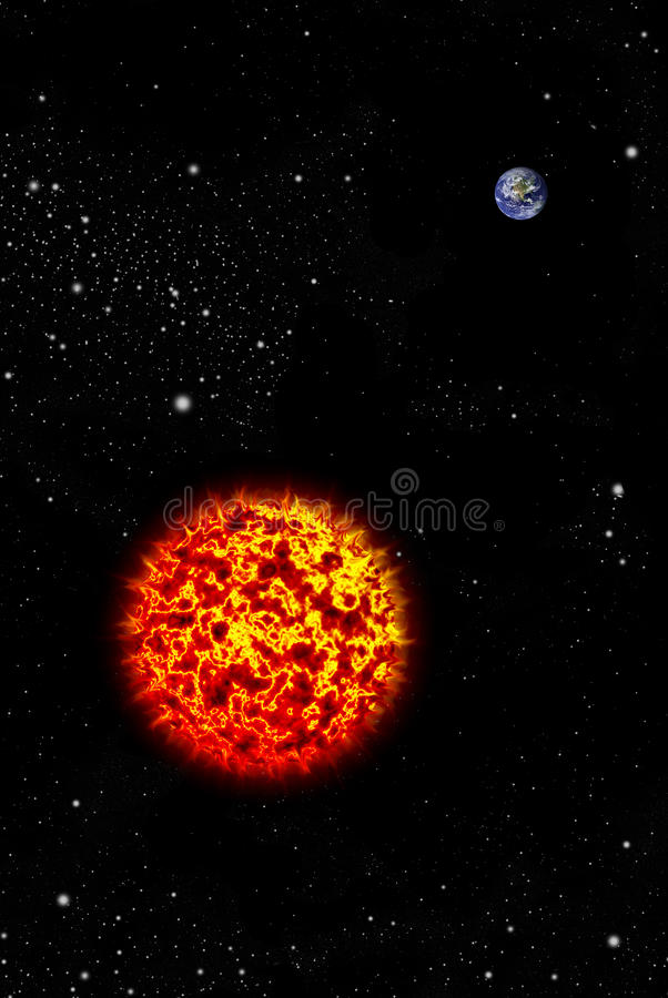 Реальная планета земли в космосе с большим солнцем иллюстрация вектора
