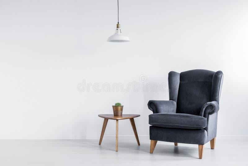 Реальное фото темного серого кресла стоя рядом с деревянной таблицей конца с кактусом в интерьере светлой комнаты с пустым космос стоковое изображение rf