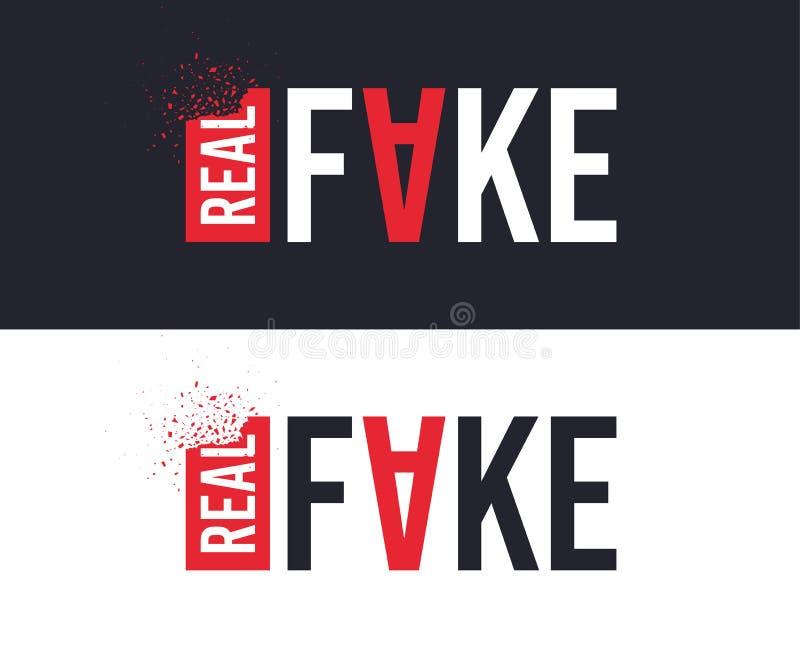 Реальный и поддельный лозунг для дизайна печатания футболки Графический дизайн тройника вектор иллюстрация штока