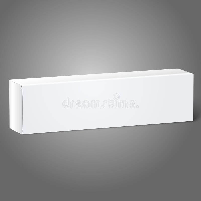 Реалистическая белая коробка пакета чистого листа бумаги для продолговатого иллюстрация штока