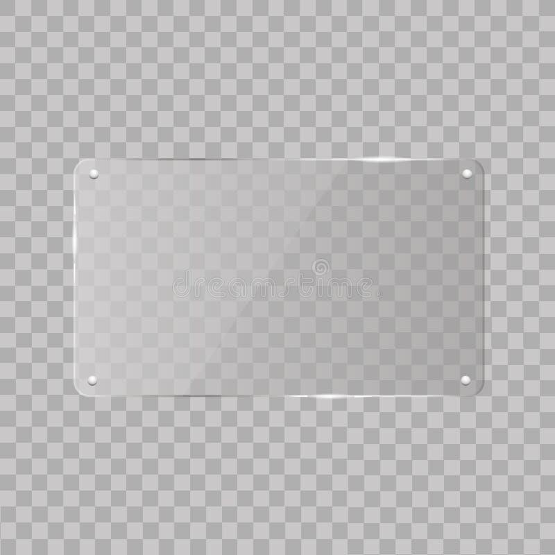 Реалистическая горизонтальная прозрачная стеклянная рамка с тенью на прозрачной предпосылке также вектор иллюстрации притяжки cor иллюстрация штока