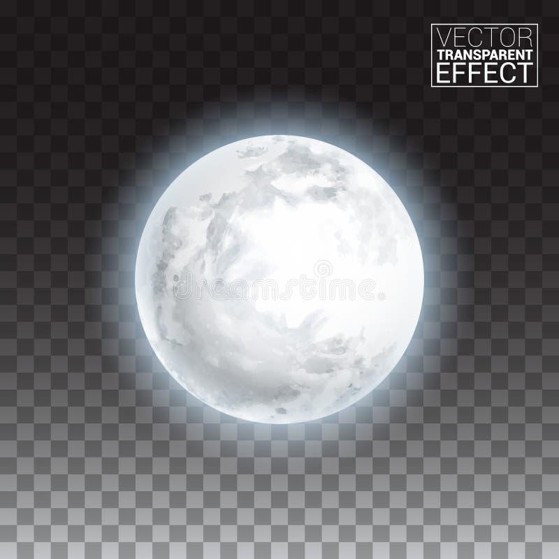 Реалистическая детальная польностью большая луна изолированная на прозрачной предпосылке иллюстрация штока