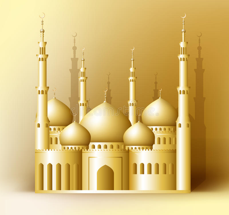 реалистическая золотая детальная мечеть 3d или Masjid иллюстрация штока